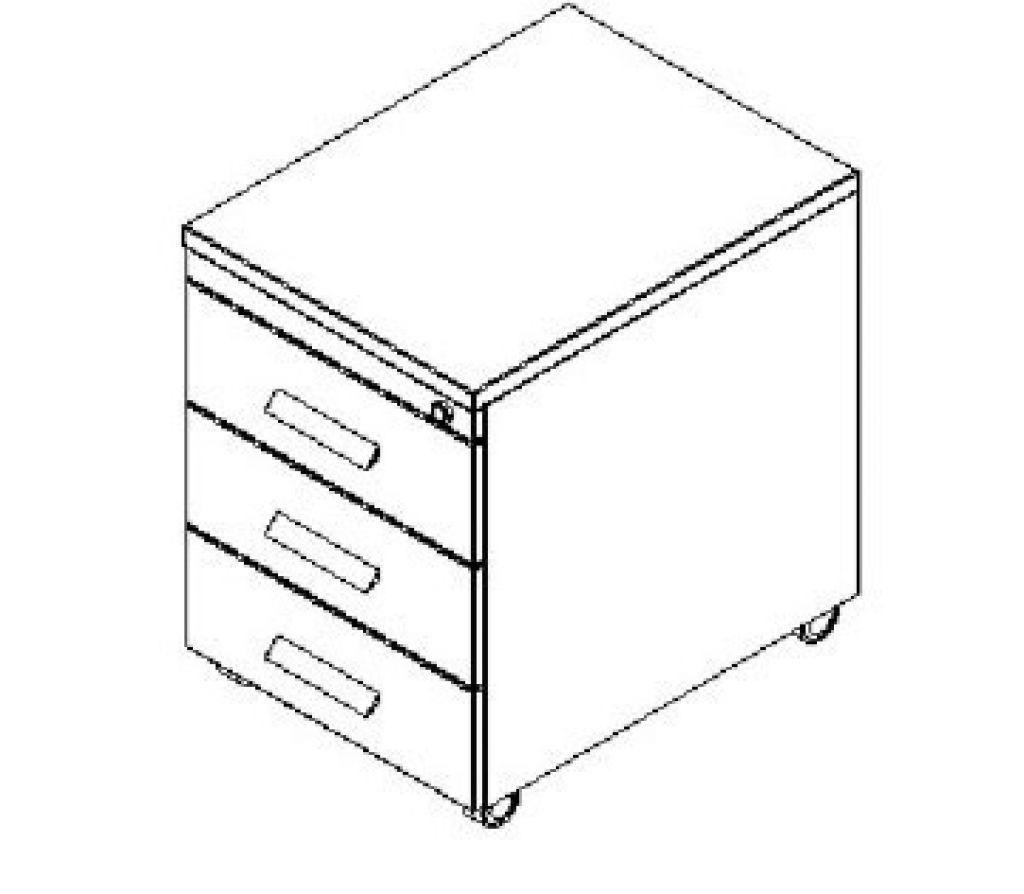 Silver irodabútor- 3 fiókos görgős konténer