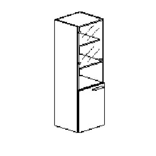 Silver irodabútor-irodai-ötrendezős-keskeny-zárt-üveges szekrényüveges